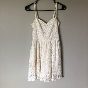 White lace minidress.
